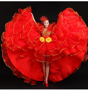 Flamenco dresses for women lady female red yellow stage performance chorus singers Spanish bull dance ballroom dresses