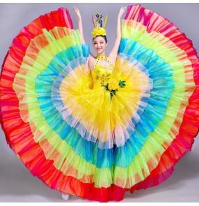 flamenco Rainbow colored  dresses women's female competition modern dance opening dance chorus singers ballroom dresses