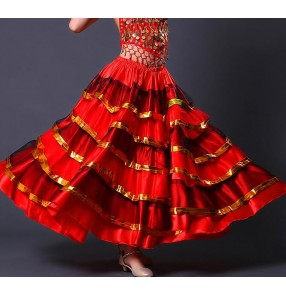 flamenco skirts Spanish costume girl long red flamenco style dress ballroom skirt for girls child dance dresses costumes for kids Skirts