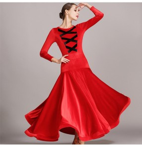 Fuchsia blue red velvet long sleeves women's female competition professional stage performance ballroom tango waltz dance dresses