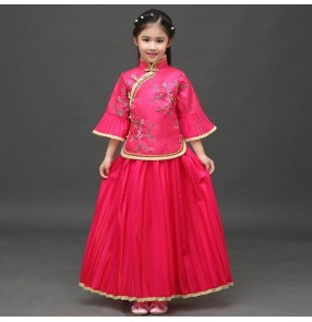 Fuchsia green yellow pink turquoise girl's kids children princess ancient classical traditional chinese folk zither dance costumes dresses