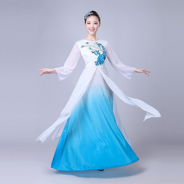 Fuchsia hot pink turquoise women s female fairy drama anime cosplay  traditional classical Chinese Folk ancient yangko fan dancing dresses  costumes bf2883a725