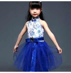 Girl's Chinese ancient folk dance dresses kids children royal blue china traditional cosplay princess show stage performance outfits