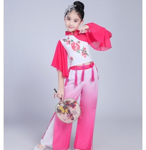 Girl's Chinese traditional folk dance costumes kids children pink blue green yangko fan ancient folk performance dresses