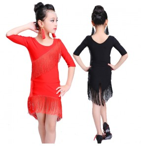 Girl's fringes latin dresses competition gymnastics stage performance black red tassels ballroom salsa latin dresses