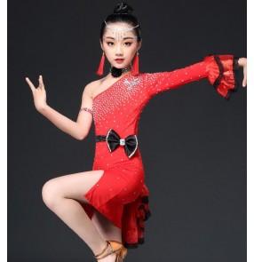 Girl's latin dress for kids children diamond competition performance blue red white black purple salsa chacha dance dress