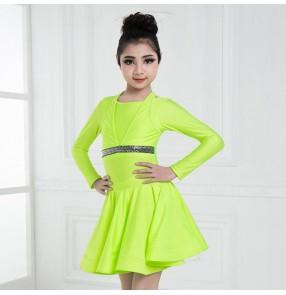 Girl's latin dress neon green white children ballroom salsa chacha performance competition dance dress