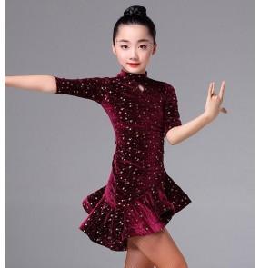 Girl's latin dress Wine black competition stage performance professional glitter ballroom salsa chacha rumba dance dresses