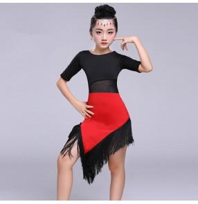 Girl's latin dresses kids children stage performance fringes patchwork red black competition gymnastics salsa dance dresses