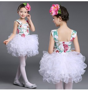 Girl's modern dance white green light pink flowers ball skirted girl's children kids school stage performance competition singers dancers dancing dresses