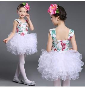 Girl's modern dance white green light pink flowers ball skirted girl's children kids school stage performance competition singers dancers dancing dresses