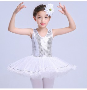 Girls ballet dance dress white paillette swan lake performance kids leotard tutu skirt ballet competition dress