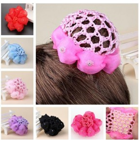 Girls ballet hairnet Bun Cover Snood Children ballet ballroom dance Hair Net Ballet Dance Skating Crochet Fanchon Rhinestone Styling Headwear