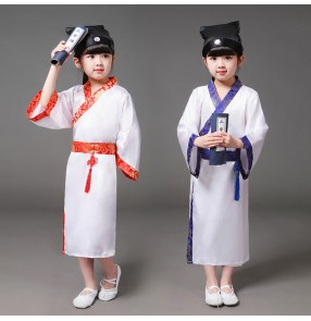 Girls boys chinese folk dance costumes hanfu three character recite performance anime kimono cosplay dance robes dresses