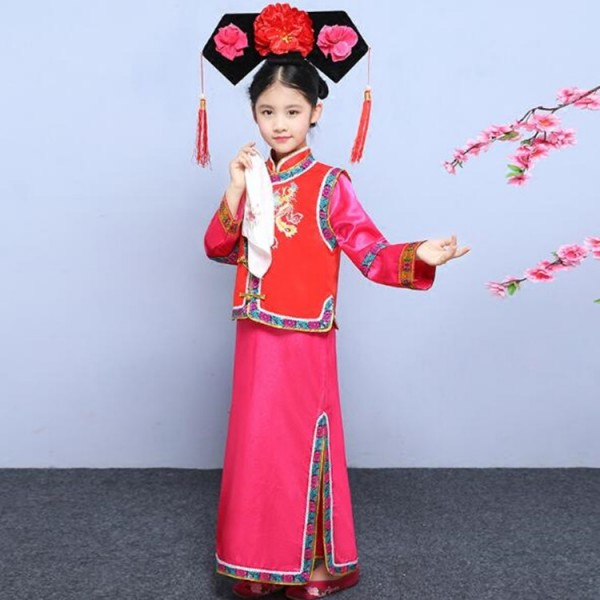 92dcc6230 Girls Chinese folk dance costumes ancient performance photos animate film  cosplay qing dynasty princess robes dress
