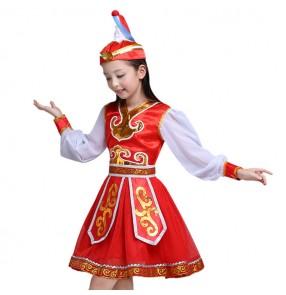 Girls Chinese folk dance costumes dress for children Mongolian ethnic minority film photos drama cosplay dance dresses