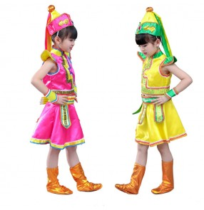 Girls chinese folk dance costumes Mongolian ethnic minority stage performance competition cosplay photos drama robes