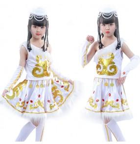 Girls Chinese folk dance costumes Mongolian white ethnic minority stage performance cosplay dresse
