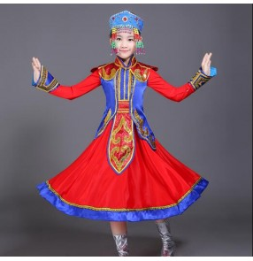 Girls Chinese folk dance costumes red Mongolian ethnic minority traditional performance photos cosplay dresses robes
