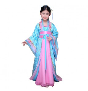 Girls Chinese folk fairy dance dresses kid children girls performance film princess queen cosplay photos dancing robes kimono dresses