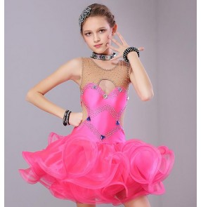 Girls Competition performance latin dresses children kids stage performance orange mint violet salsa chacha dance dresses