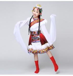 Girls Folk Mongolian performance dresses kids children stage performance school competition cosplay minority dancing dresses