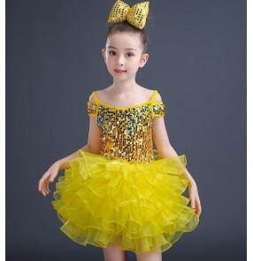 Girls jazz dance dress for kids children princess flower girls pink gold blue green school competition performance modern dance dresses