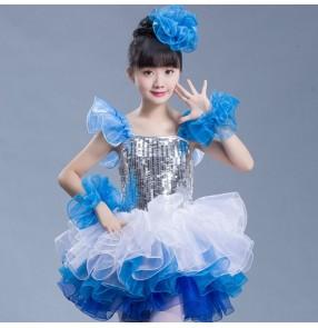 Girls jazz dance dress kids children modern dance singers blue pink chorus school princess performance dancers photos dresses