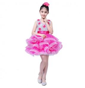 Girls jazz dance dresses for kids children  blue pink yellow sequined modern dance singers school performance dress