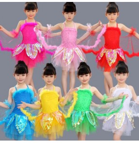 Girls jazz dance dresses for kids children pink red white green princess modern dance school performance butterfly anime cosplay dresses