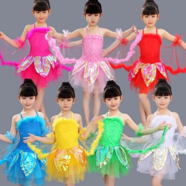 f1acbee38e6d Girls jazz dance dresses for kids children pink red white green ...