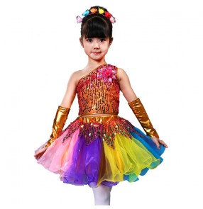 Girls jazz dance dresses for kids children rainbow sequined princess modern dance chorus stage performance competition outfits