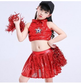 Girls jazz hiphop dance dresses cheerleaders performance costumes silver red jazz singers dancers chorus competition outfits