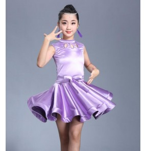 Girls latin dresses for kids children stage ballroom performance stretchable satin competition samba salsa chacha dance dresses