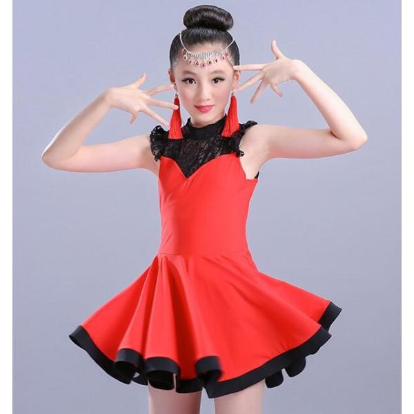 3e06abf0a Girls latin dresses kids children red orange light pink black lace ...
