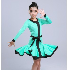 Girls latin dresses red black mint white competition stage performance professional salsa chacha ballroom latin dresses