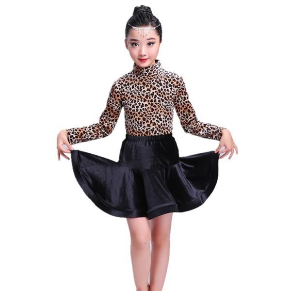 f4da1ea7719c Girls leopard latin dress children kids competition stage performance  ballroom salsa rumba latin dance dresses costume