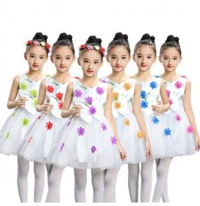 Girls modern dance dresses flower girls kids children wedding party chorus group singers school performance dancing dresses
