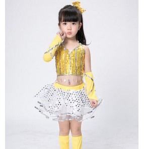 Girls modern dance jazz dresses yellow black sequined modern dance ds dj singers hiphop jazz stage performance costumes outfits