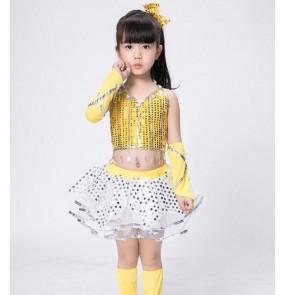0a587f40780e5 Girls modern dance jazz dresses yellow black sequined modern dance ds dj  singers hiphop jazz stage