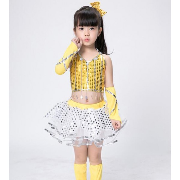 9303c49792fa Girls modern dance jazz dresses yellow black sequined modern ...