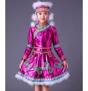 Girls Mongolian folk dance dresses fuchsia feather Chinese minority folk dance performance competition drama cosplay outfits costumes robes