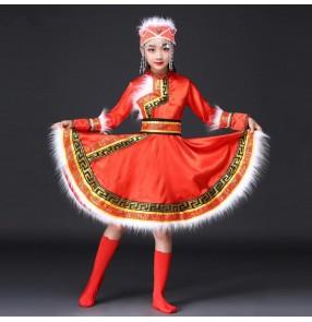 Girls national Folk dance Mongolian dance dresses kids children red stage performance minority cosplay folk dance robes outfits