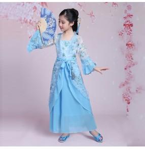 Girls traditional Chinese folk dance dresses fairy princess kimono hanfu drama anime cosplay performance competition costumes