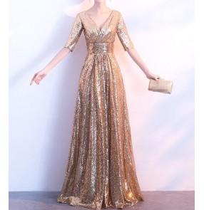 Gold black sequined glitter v neck Short sleeves fashion women's wedding party bridesmaid model show performance dresses vestidos de noche