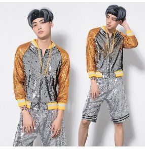 Gold silver sequined patchwork men's growth fashion modern street dance hiphop jazz singers performance competition jackets shorts outfits costumes