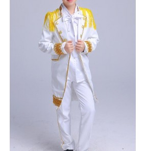 Gold white hiphop jazz dance singers stage performance boy's kids children modern dance hiphip drummer competition costumes outfits
