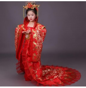 Gold yellow girl's children chinese ancient classical folk dance costumes Tang Dynasty queen princess fairy film cosplay stage performance dresses