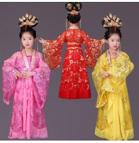 Gold yellow red pink girl's Children kids Chinese Folk dance ancient classical traditional princess han film drama performance cosplay dancing dresses
