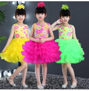Green fuchsia yellow gold girl's kids children performance jazz singers flower girls princess modern dance costumes dresses
